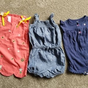 Lot of Carter's rompers & dress. 12M